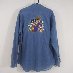 Disney Button Up Denim Shirt Large